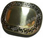 OVAL - ENGRAVABLE (BRASS) BELT BUCKLE + display stand